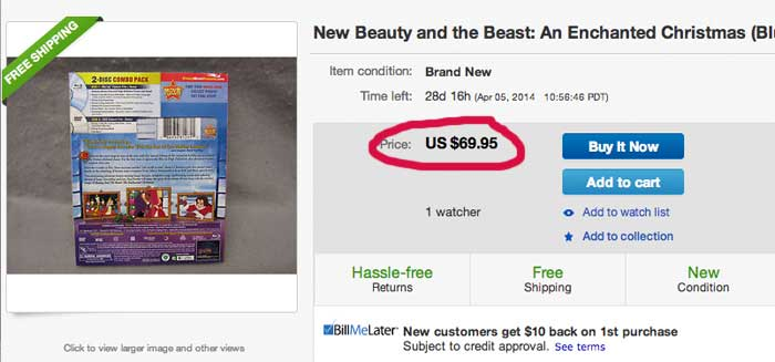 Outrageous 'Buy It Now' prices for Beauty and the Beast: The Enchanted Christmas'