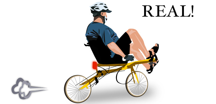Dude riding recumbent.