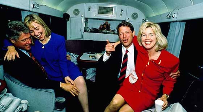 The Clintons and Gores on the campaign trail during the '92 election season.
