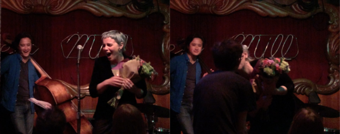 kissing Vlad after he brings me Whole Foods flowers at my feature slam poetry set at the Green Mill Uptown Poetry Slam