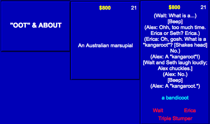 erica dreisbach | OOT and ABOOT | Australian marsupial | Kangaroot clue on Jeopardy
