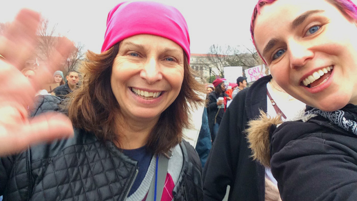 erica and mom waving to the camera in Washington, DC | Women's March