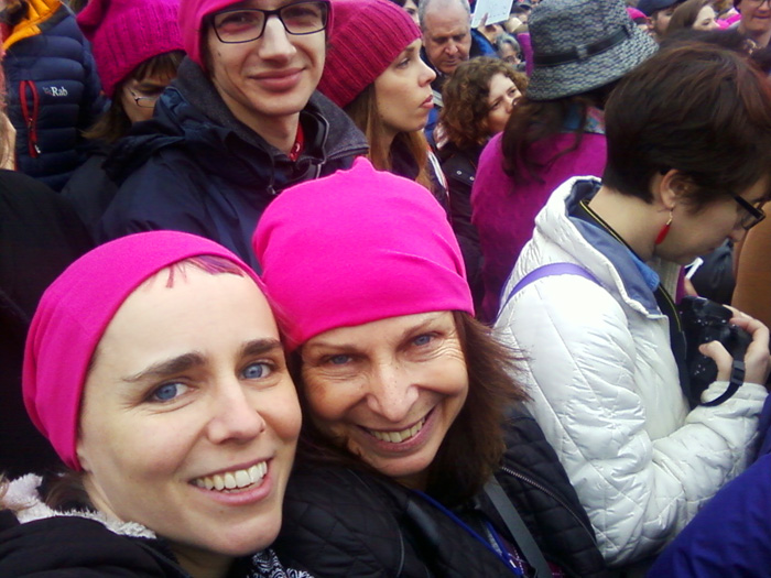 erica and mom selfie time | Women's March on Washington, DC | 21 January 2017