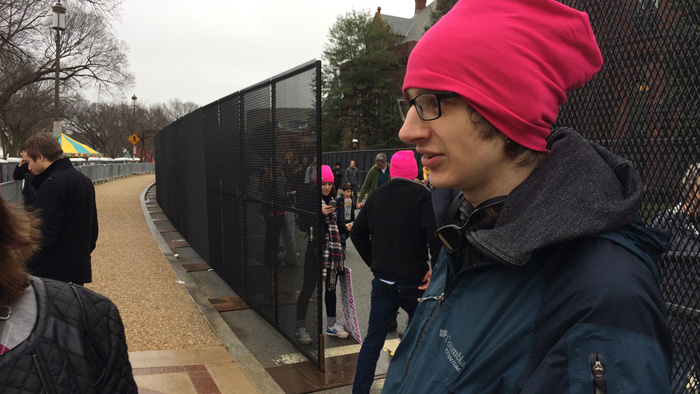 Vlad! standing by a fence at the Women's March in Washington, DC | 21 January 2017
