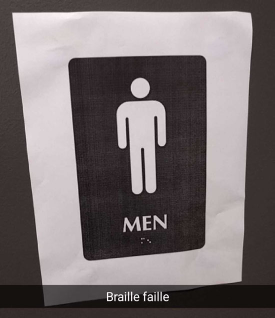 image: a black and white printout of the male bathroom symbol and MEN written in English and in Braille | caption: Braille faille