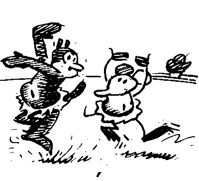 black and white cartoon of Krazy and Ignatz dancing | Tacky Harper's Cryptic Clues