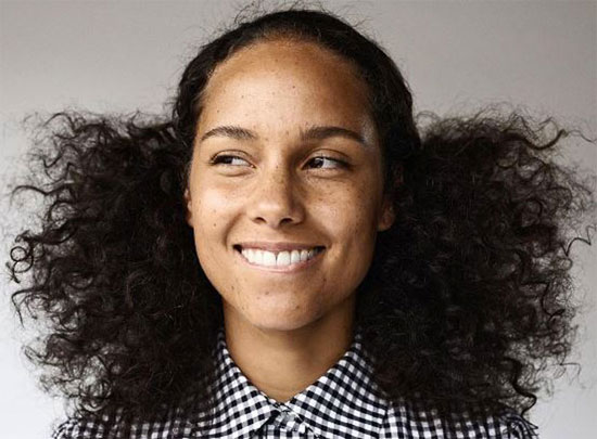 photo of Alicia Keys since her switch to absolute minimum makeup