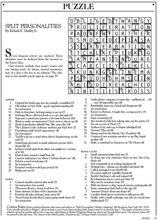 answers to the May 2017 Harper's cryptic crossword puzzle | Split Personalities | Tacky Harper's Cryptic Clues