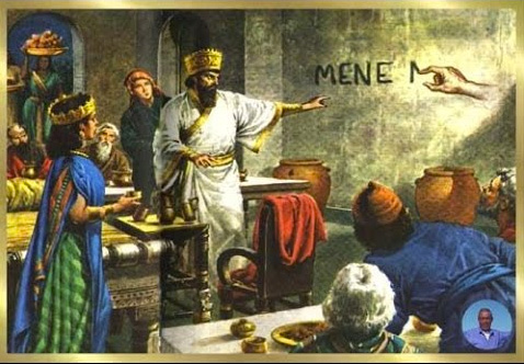 ilustration of the prophet Daniel reading the word MENE written on the wall | Tacky Harper's Cryptic Clues