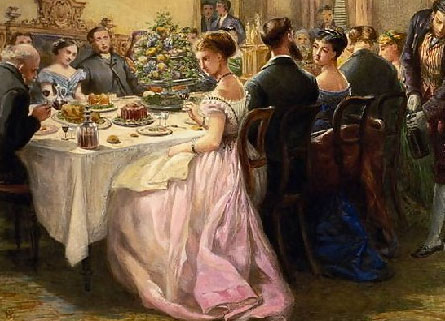illustration of a Victorian dinner | Tacky Harper's Cryptic Clues