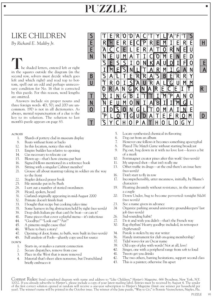 Answers To The August 2017 Harpers Cryptic Crossword Puzzle