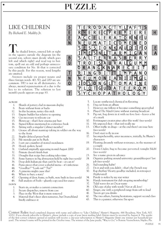 answers to the August 2017 Harper's cryptic crossword puzzle | Like Children | Tacky Harper's Cryptic Clues