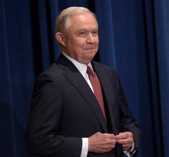 a giddy Atty General Jeff Sessions before announcing the end of DACA | Tacky Harper's Cryptic Clues